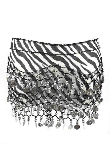 Belly dance zebra coin skirt - orangeshine.com