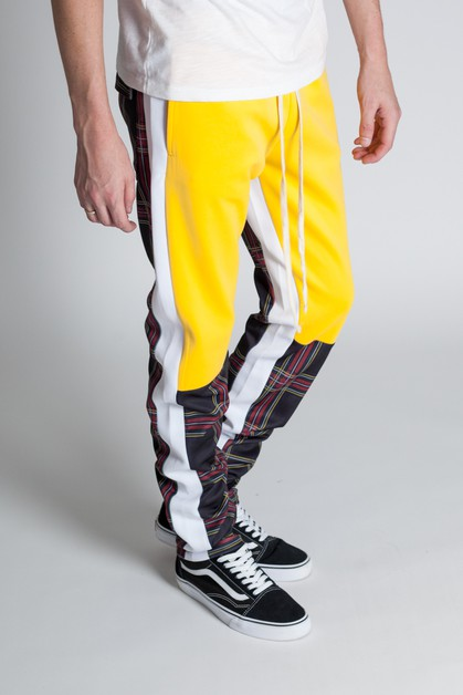 PLAID COLOR BLOCKED PANTS - orangeshine.com
