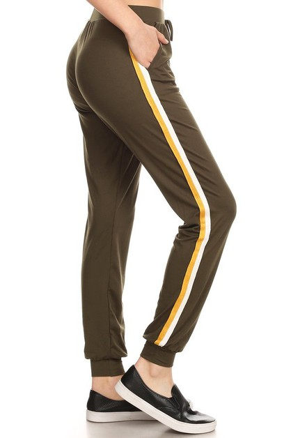 Solid Joggers Pants Sweatpants Strip - orangeshine.com