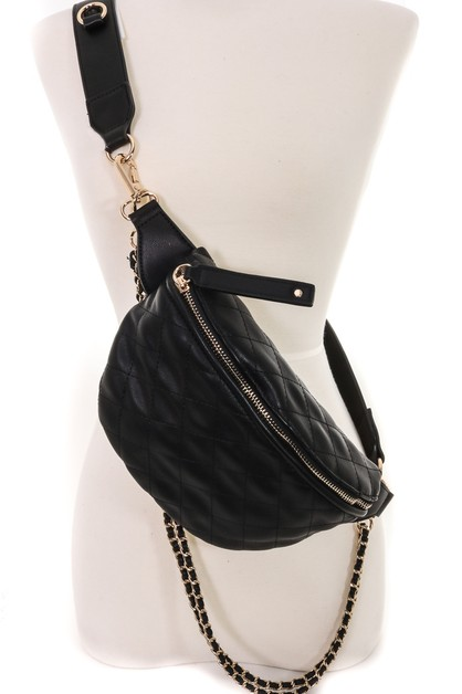 Quilted Side Chain Cross Body Bag - orangeshine.com