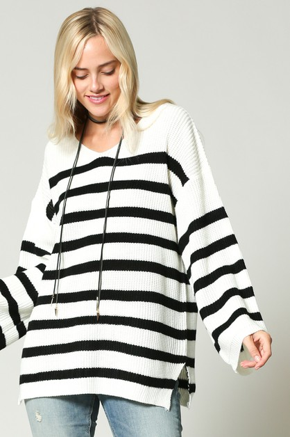 RELAX FIT STRIPED PULL OVER SWEATERS - orangeshine.com