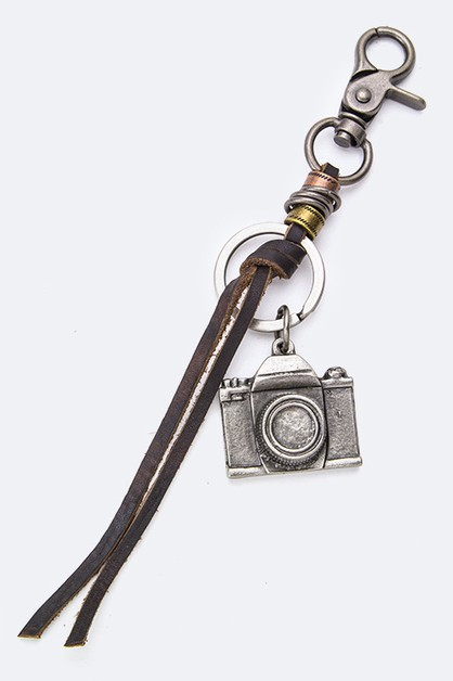 Camera Charm Leather Keychain - orangeshine.com