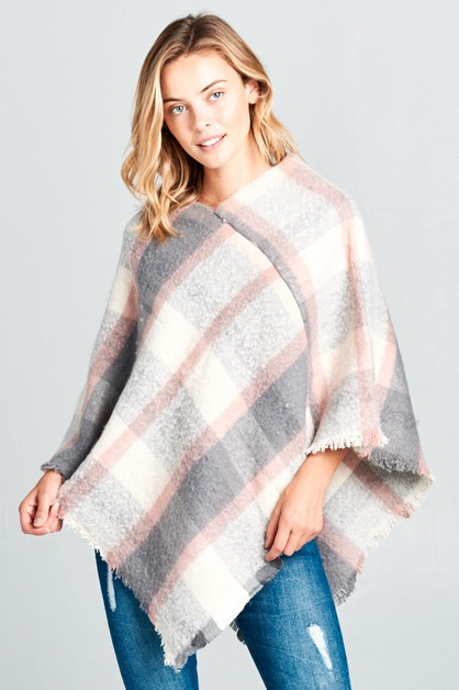OMBRE PLAID FRAYED END PONCHO - orangeshine.com