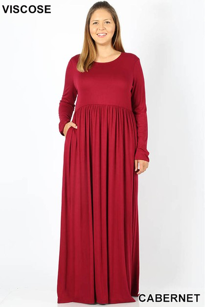 PLUS VISCOSE ROUND NECK MAXI DRESS - orangeshine.com