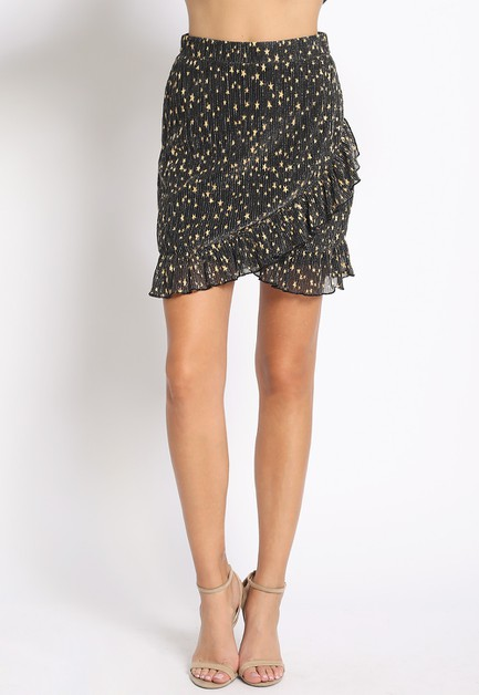 GOLD STAR PRINT RUFFLE MINI SKIRT - orangeshine.com