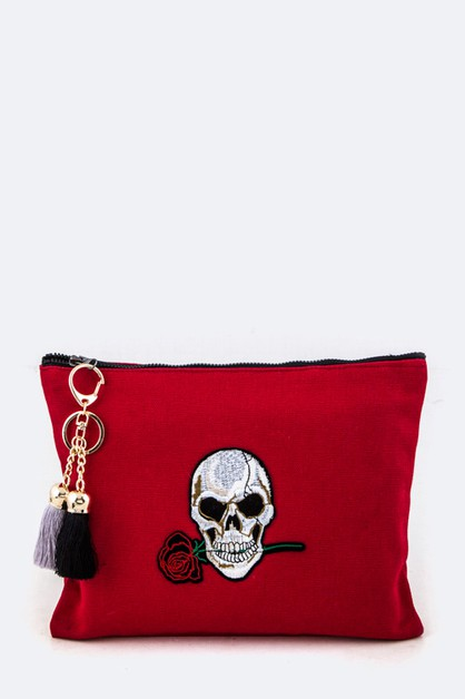 Embroidery Skull with Rose Pouch - orangeshine.com