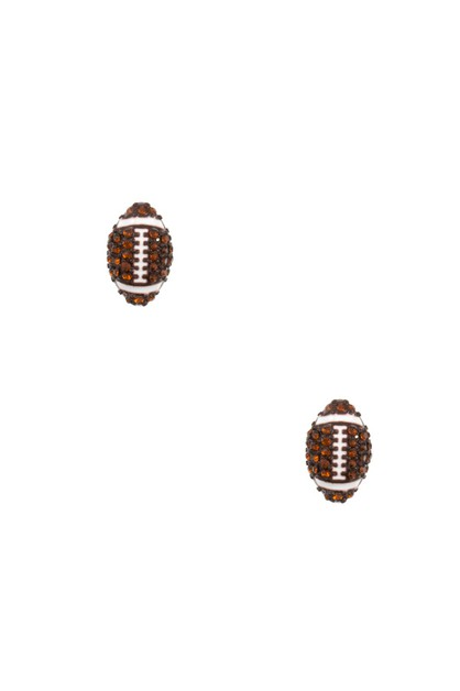 FOOTBALL RHINESTONE PAVE POST EARRI - orangeshine.com