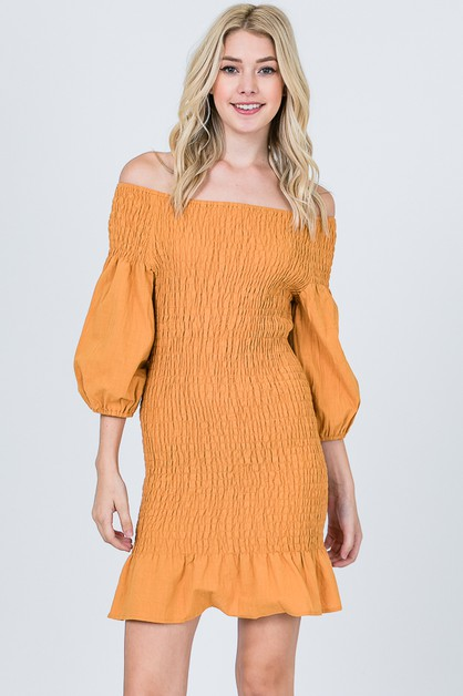 SMOCKED RUFFLE DRESS  - orangeshine.com