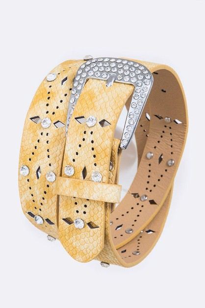 Snake Embossed Studs Perforated Belt - orangeshine.com