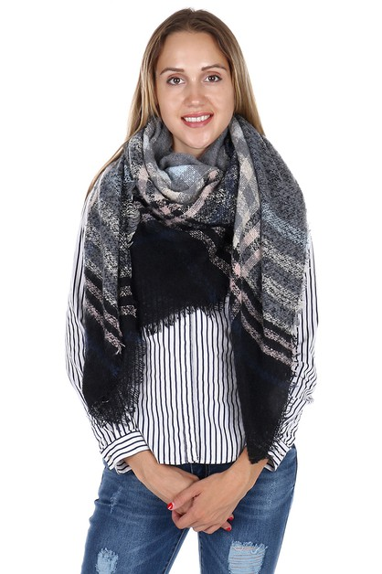 Plaid Pattern Blanket Scarves - orangeshine.com