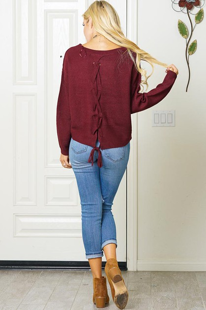 LACE UP BACK HIGH-LOW SWEATER - orangeshine.com