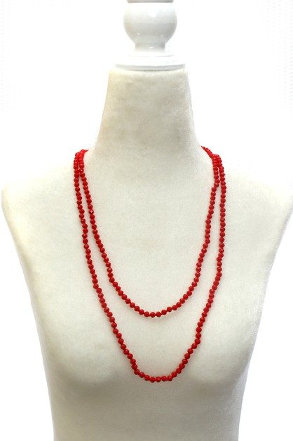 GLASS BEAD LONG NECKLACE - orangeshine.com