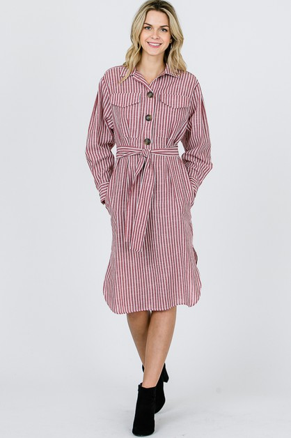STRIPE SHIRTS DRESS  - orangeshine.com