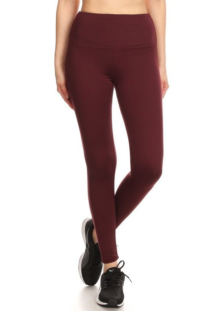 Solid Fleece Lined Sports Leggings  - orangeshine.com