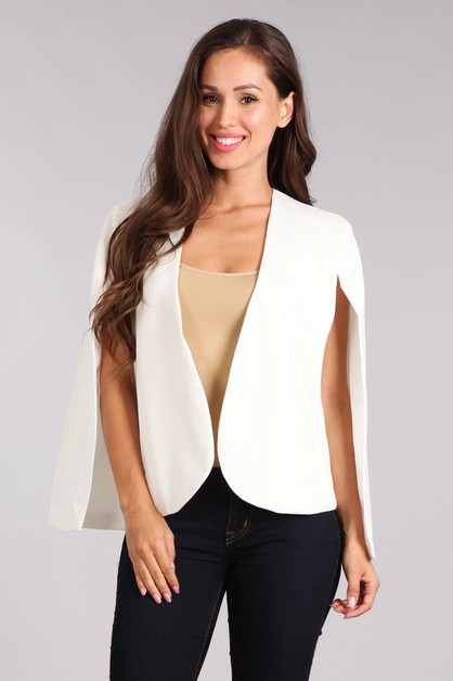 Solid cape style blazer with open  - orangeshine.com