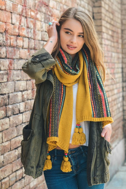 Bohemian Knit Braided Scarf - orangeshine.com