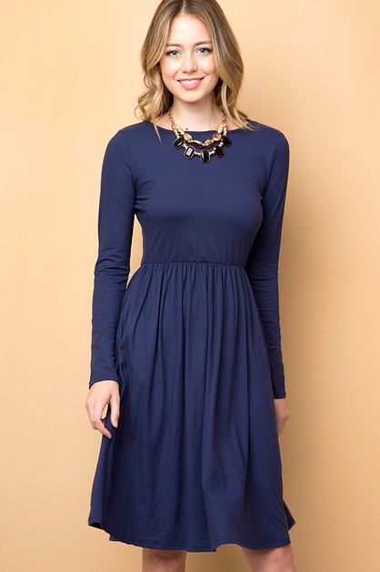 SOLID FIT AND FLARE DRESS - orangeshine.com