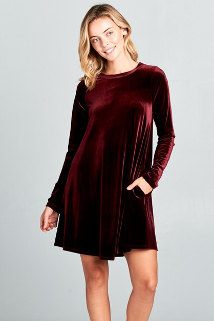 VELVET SOLID SWING MINI DRESS - orangeshine.com