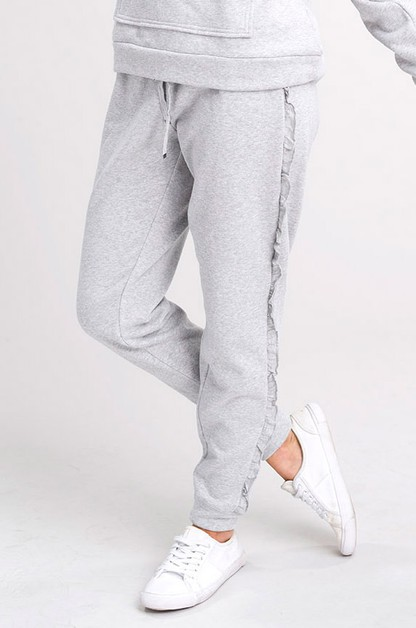 Solid Knit Joggers With Ruffle Trim - orangeshine.com