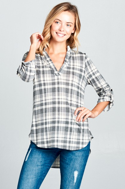 SPLIT NECK ROLL OVER PLAID TOP - orangeshine.com