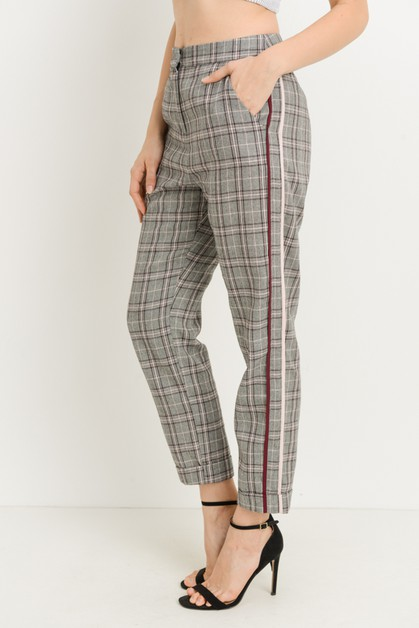 Plaid Stripe Trousers - orangeshine.com