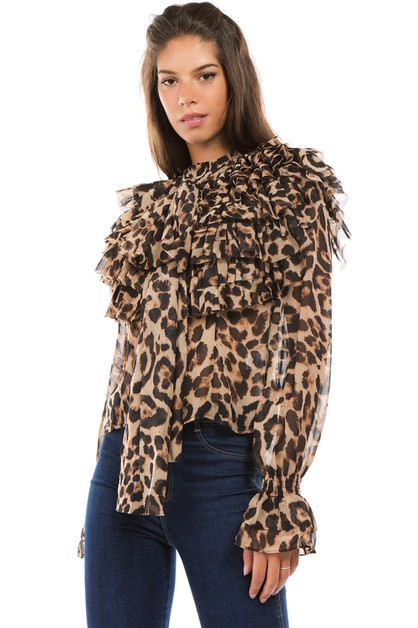 Animal Print Ruffle Blouse - orangeshine.com