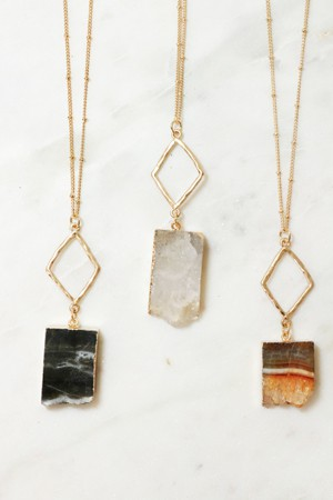 Druzy natural metal pendant necklace - orangeshine.com