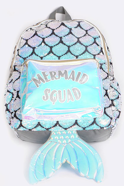 Sequins Scale Mermaid Backpack - orangeshine.com