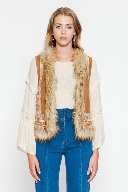 FUR TRIMING VEST - orangeshine.com