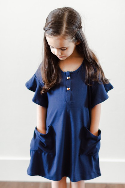 Emma House Dress - Navy Toddler - orangeshine.com
