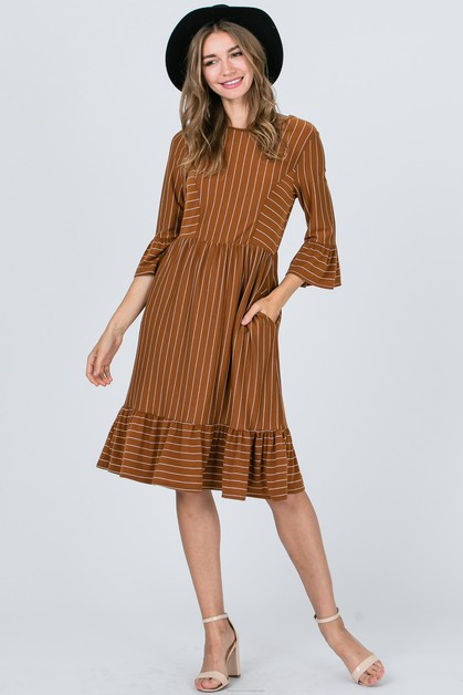 Stripe Detail Block Dress - orangeshine.com