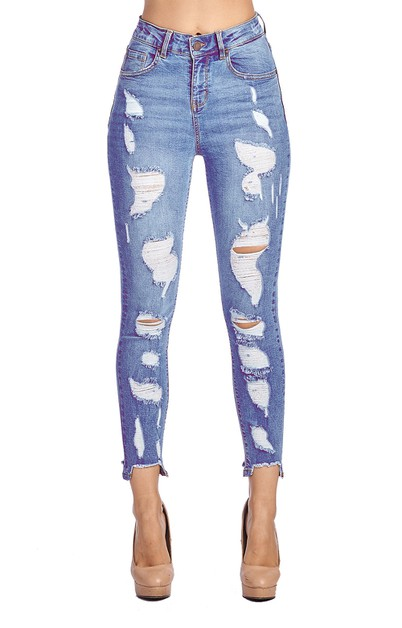 Womens Destroyed Skinny Jeans  - orangeshine.com
