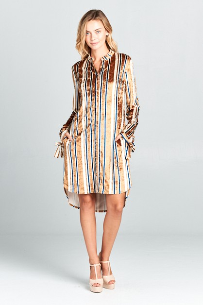 MULTI STRIPE VELVET PKT SHIRTS DRESS - orangeshine.com