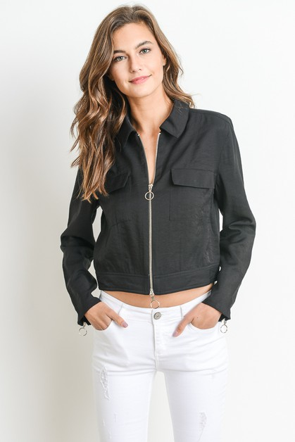 Cropped Zipper Jacket - orangeshine.com