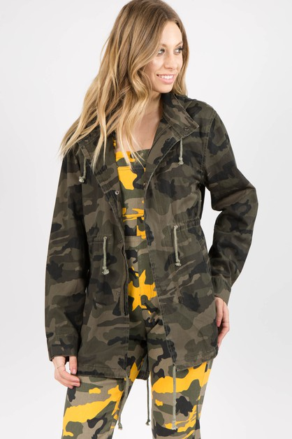 PLUS SIZE CAMO PRINTED HOODY JACKET - orangeshine.com