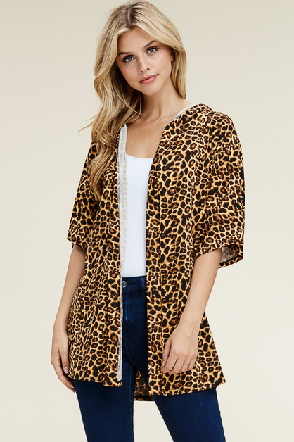 HALF SLEEVE ANIMAL PRINT CARDIGAN - orangeshine.com