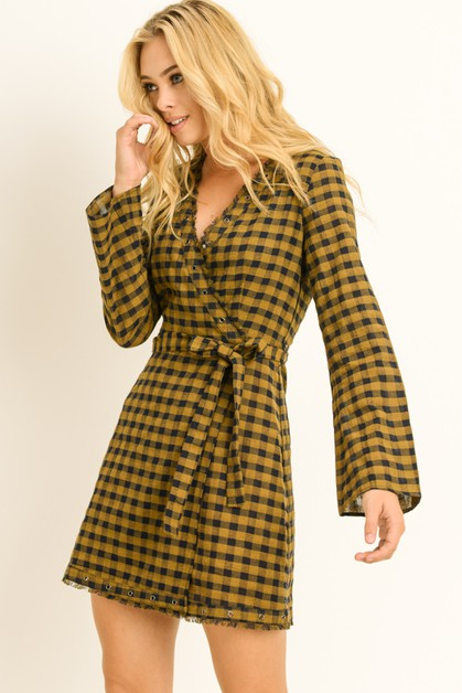 Plaid Bell Sleeve Wrap Dress - orangeshine.com