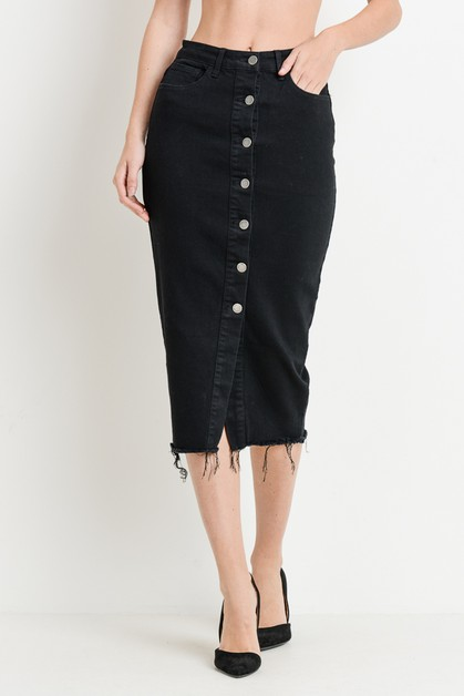 High Waist Button Midi Skirt - orangeshine.com