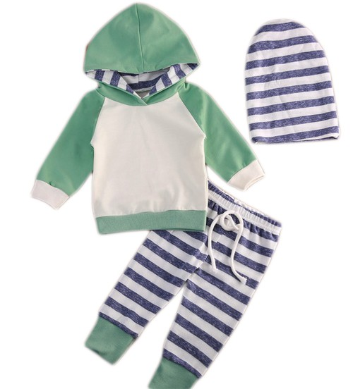 Green Hoodie 3 pieces Baby set - orangeshine.com