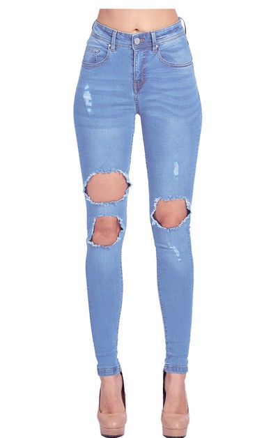 WOMENS DESTROYED RIPPED SKINNY JEANS - orangeshine.com