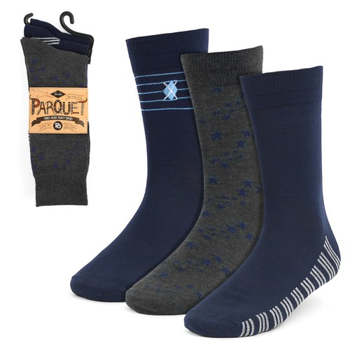 3 Pairs Men Navy Fancy Dress Sock - orangeshine.com