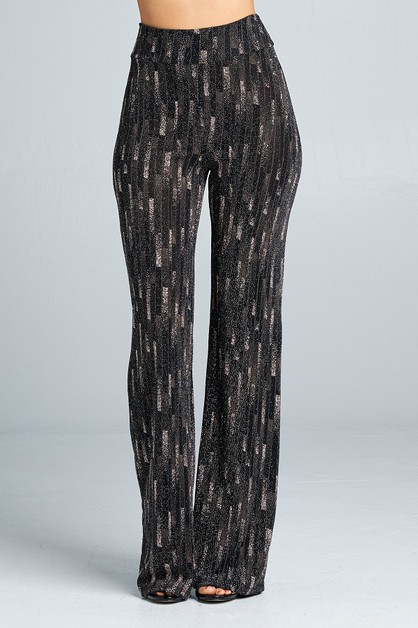 High waist glitter bell bottom pants - orangeshine.com