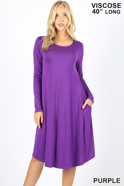 VISCOSE ROUND NECK KNEE LENGTH DRESS - orangeshine.com