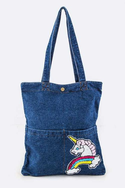 Sequins Unicorn Denim Tote - orangeshine.com