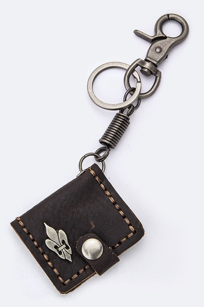 Fleur De Lis Leather Key Charm - orangeshine.com