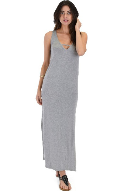 Maxi Dress with Leg Slit - orangeshine.com