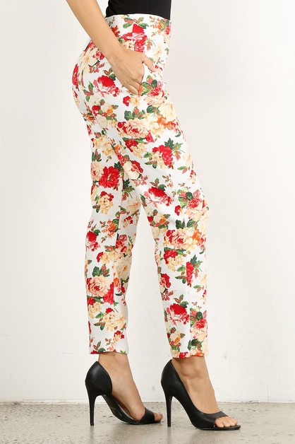 Floral printed high waisted pants  - orangeshine.com