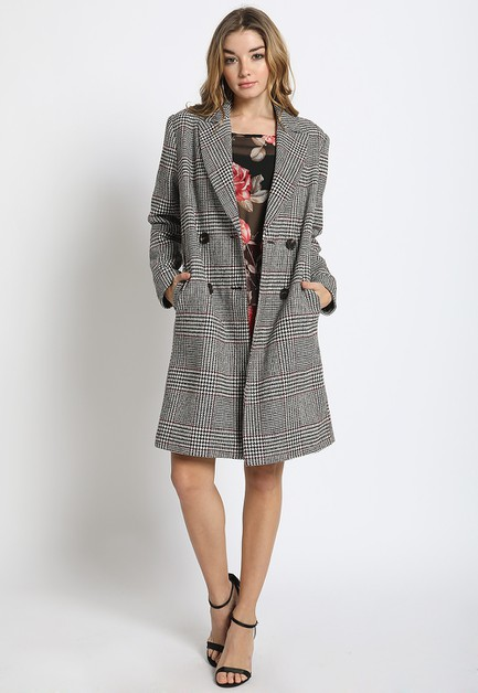 DOUBLE BREASTED PLAID COAT - orangeshine.com