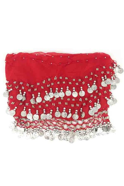Belly dance silver coin skirt - orangeshine.com