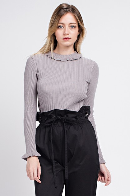 Ruffle Turtleneck Ribbed Sweater - orangeshine.com